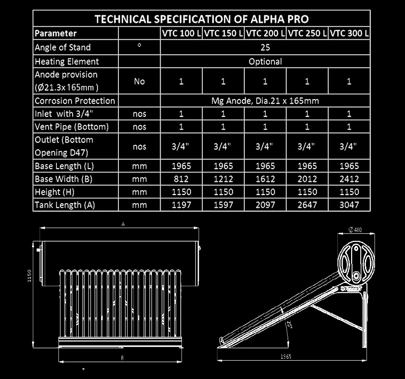 Racold Alpha Pro solar water heater dimensions